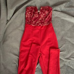Red Lace Top Jumpsuit